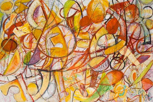 Jazz with Fruit by Cedric Cox, 60x40 inches, acrylic on primed paper