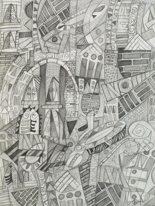 Visions on Main Street by Cedric Cox, 18x24 inches, graphite on paper