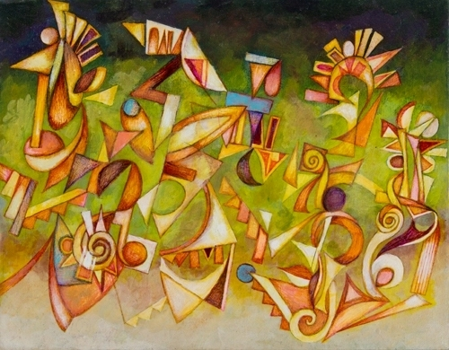 Dance of the Architectonic by cedric cox 11x 14 inches acrylic on stretched canvas 2012.JPG
