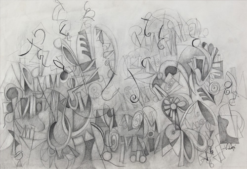 Drawing-for Jahzells Trees  by Cedric Michael Cox 16 x 24 inches graphite on paper-