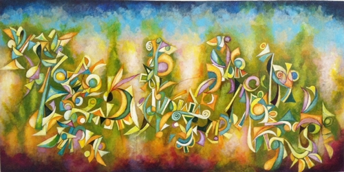 Face Dances No.2, by Cedric Michel Cox 24 x 48 inches acrylic on canvas