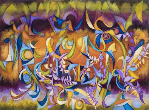 Figs Dancing in the Midnight Mist, by Cedric Michael Cox, 30 x 40 inches, acrylic on canvas