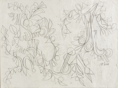Sketch for Figs Dancing, by Cedric Michael Cox, 18 x 24 inches, graphite on paper