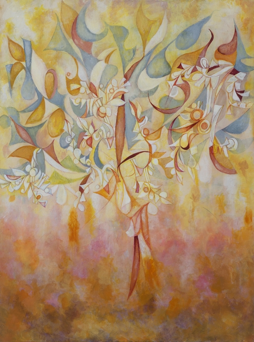 Sun Burst-Through the-Trees by Cedric Michael Cox 40 x 30 inches acrylic on canvas.
