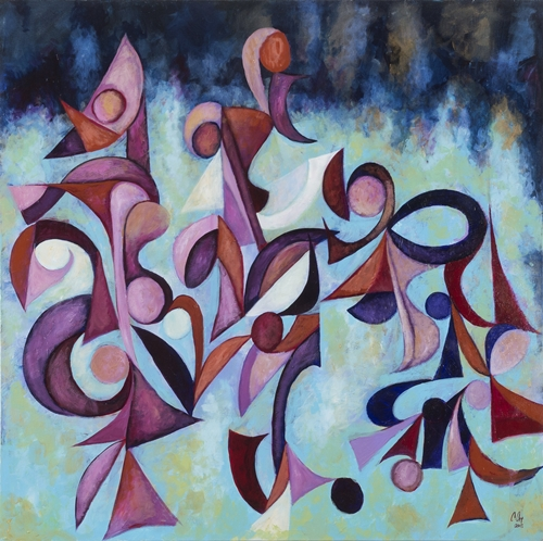Midnight Sonata by Cedric Michael;Cox and the students of E. H. Greene Intermediate School 48 x 48 inches acrylic on canvas