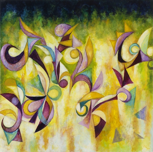 Sunburst Sonata by Cedric Michael;Cox and the students of E. H. Greene Intermediate School 48 x 48 inches acrylic on canvas