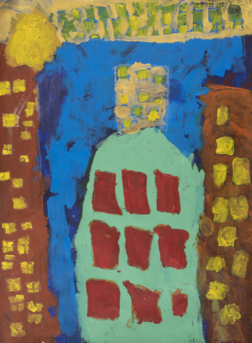 Item # 14  Buildings  acrylic on paper 17 x 22 inches