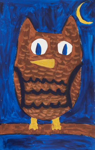 Item # 22 the Owl acrylic on paper 12 x 15 inches