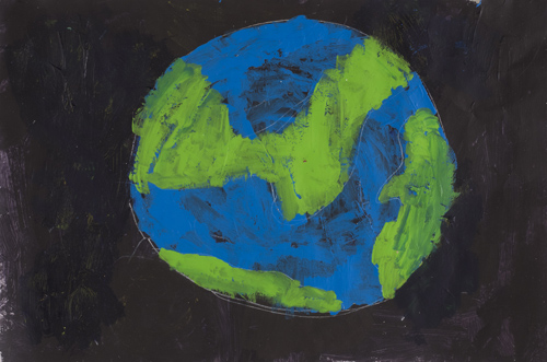 Item # 7 the world of Earth acrylic on paper 12 x 17 inches