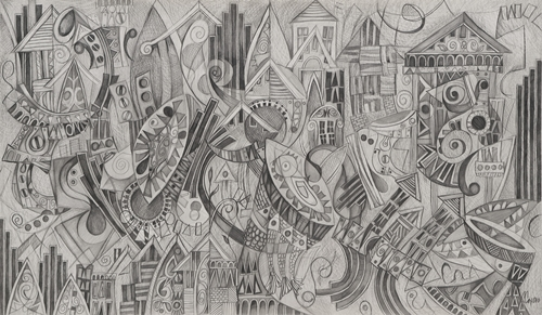 Polyphonic Monuments, 20 x 34 inches  graphite on paper