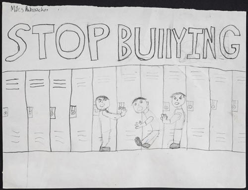 Stop Bulling in the Halls and Everywhere by Miles Rubenacker 6th grade,  9 x 12 inches, graphite on paper