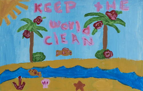 Keep the World Clean, by Dylan Nance 3rd  grade, 14  x 22 inches, acrylic on canvas