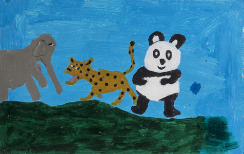 Stop Killing Endangered Animals, by Griffin Harding 3rd grade, 14 x 22 inches, acrylic on paper