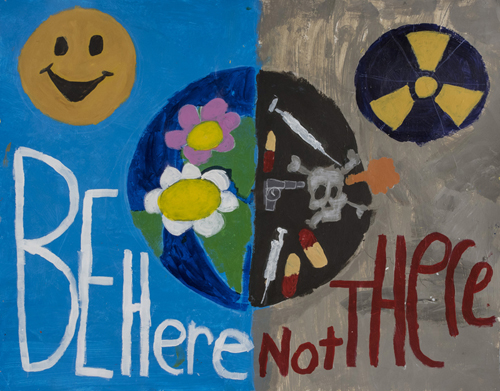 Be Here Not There, by Bryson Weir 3rd and Kristopher Haithcoat 4th grade, 22 x 28 inches, acrylic on paper