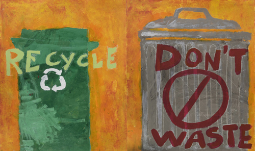 Don't Throw Away What You Can Recycle, By A Collaborative effort by Students in the Monday/ Wednesday : Mt Washington School Castle Connections after school Program, 28 x 43 inches, acrylic on paper