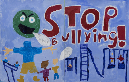 Stop Bulling by A Collaborative effort by Students in the Monday/ Wednesday : Mt Washington School Castle Connections after school Program, 56 x 22 inches, acrylic on paper