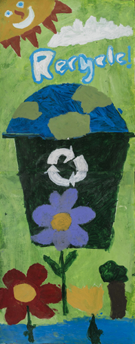 Recycling By A Collaborative effort by Students in the Monday/ Wednesday Mt Washington School Castle Connections after school Program 56 x 22 inches