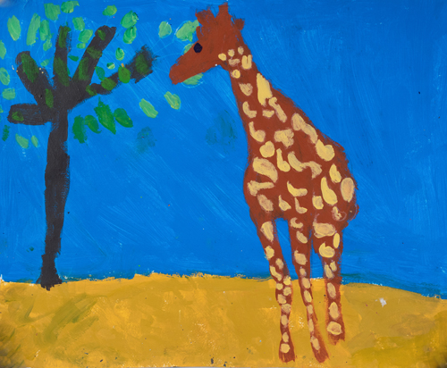 "1st grade 11""x13 Acrylic on paper Artwork inspired by students' favorite animal"