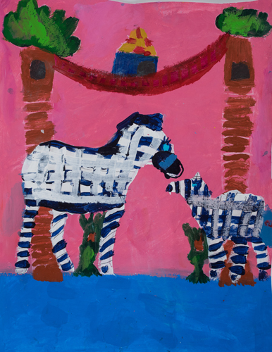 "2nd grade ""Zebras on the Grass"" 13""x11"" Acrylic on paper Artwork inspired by students' favorite animal"