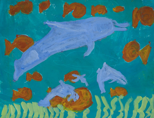 "1st grade "" Dolphin and  Fish"" 11""x13"" Acrylic on paper Artwork inspired by students' favorite animal"