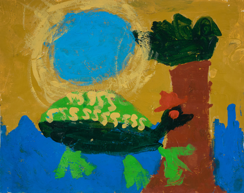 "2nd grade ""Turtle and His Hat"" 11""x13"" Acrylic on paper Artwork inspired by students' favorite animal"
