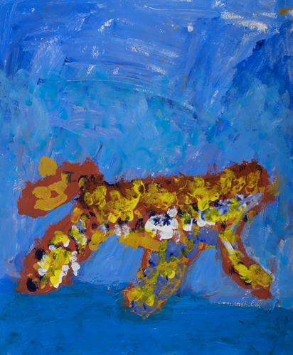 "1st grade ""Cheetah"" 13""x11"" Acrylic on paper Artwork inspired by students' favorite animal"