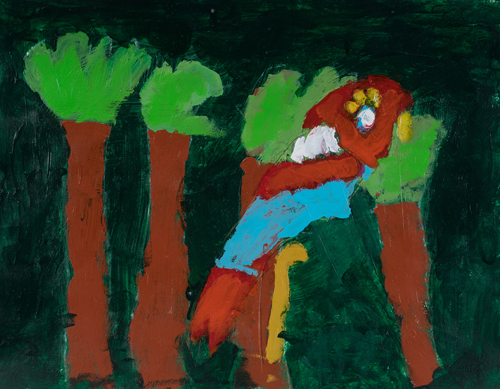 "1st grade "" Red Parrot and Trees"" 11""x13"" Acrylic on paper Artwork inspired by students' favorite animal"