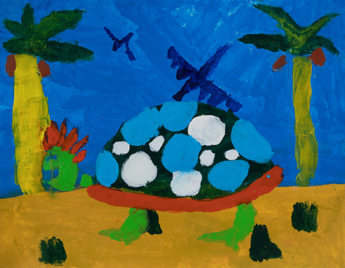 "2nd grade "" MyTurtle "" 11""x13"" Acrylic on paper Artwork inspired by students' favorite animal"