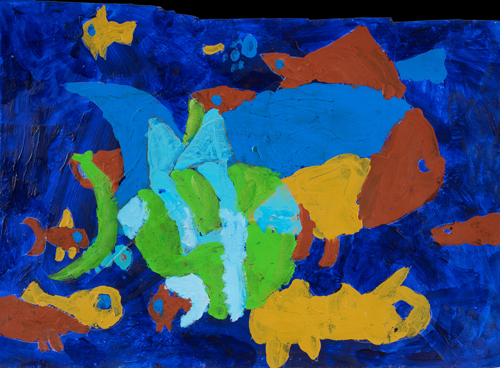 "2nd grade ""The Fish"" 11""x13"" Acrylic on paper Artwork inspired by students' favorite animal"