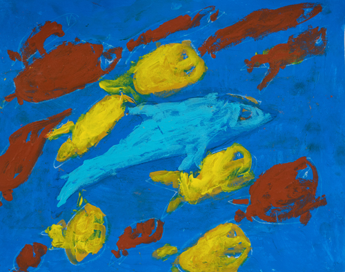 "1st grade "" Blue Dolphin"" 11""x13"" Acrylic on paper Artwork inspired by students' favorite animal"
