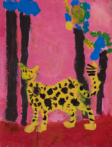 "1st grade ""Red Grass and Cheetah"" 13""x11"" Acrylic on paper Artwork inspired by students' favorite animal"