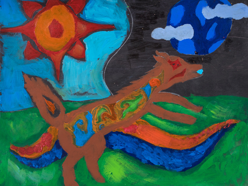 "6th grade ""The Wolf at Day and Night"" 10""x13"" Acrylic on paper Artwork inspired by Native American Woodland art"