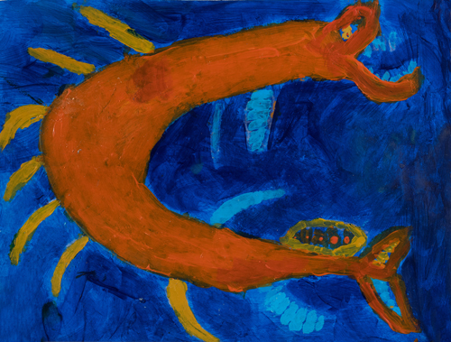 "3rd grader "" Crazy Fish"" 10""x13"" Acrylic on paper Artwork inspired Native American Woodland art"
