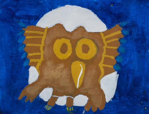 "5th grader  "" The Owl"" 10""x13"" Acrylic on paper Artwork inspired Native American Woodland art"