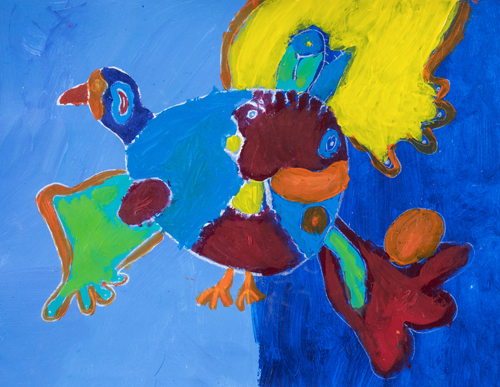 "3rd grader "" Wild Bird Flying"" 10""x13"" Acrylic on paper Artwork inspired Native American Woodland art"
