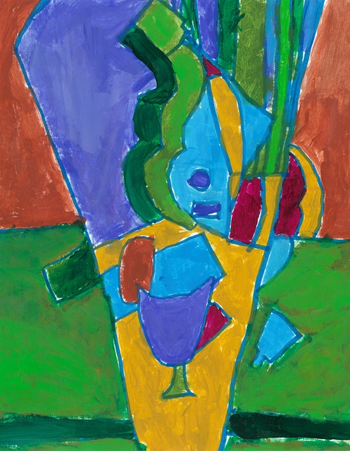 "Item No.  4th grader ""Green Guitar"" 10""x 8"" Acrylic on paper Artwork inspired by the Spanish cubist painter Juan Gris"