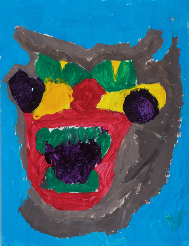 "4th grade ""Mad Face"" 10""x8"" Acrylic on paper"