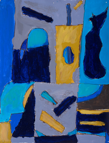 "Item No. 5th grader ""Blue Room"" 10""x8"" Acrylic on paper Artwork inspired by the Spanish cubist painter Juan Gris"