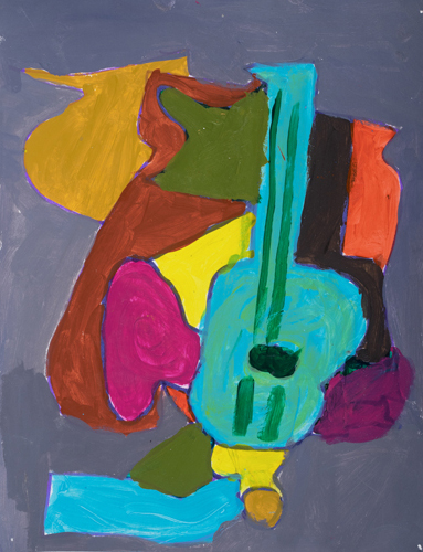 "4th grader "" Guitar in the Room"" 10""x8"" Acrylic on paper Artwork inspired by the Spanish cubist painter Juan Gris"