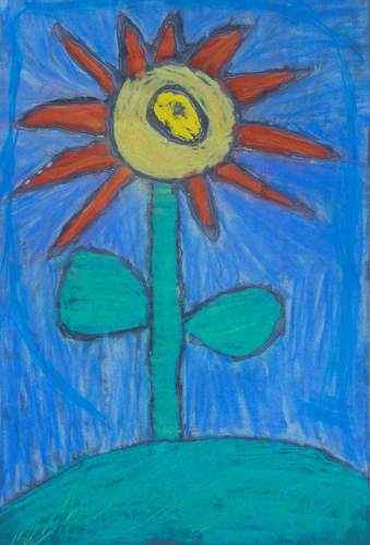 "Item No. 39 2nd grader 18""x12"" Chalk pastel on paper"