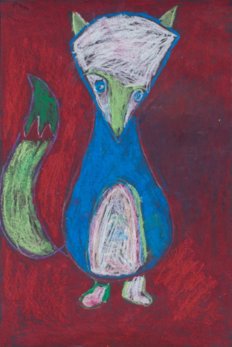 Item No. 14 Oil Pastel on paper 16 x 12 inches 2nd Grader at  St. Francis Seraph School
