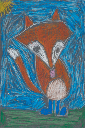 Item No. 10 Oil Pastel on paper 16 x 12 inches 2nd Grader at St. Francis Seraph School