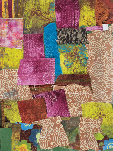 Item No. 7 Fabric mounted to paper 12 x 9 inches 4th Grader at St. Francis Seraph School