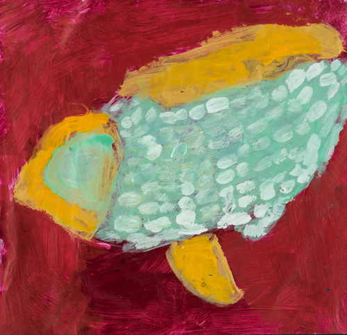 Item No. 8 Acrylic on paper 11.5 x 11.5 inches 3rd Grader at  St. Francis Seraph School