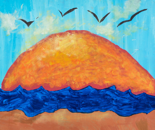 Item No. 19 Acrylic on paper 20 x 24 inches 8th Grader at  St. Francis Seraph School