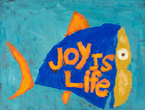 Item No. 18 Acrylic on paper  16 x 23 inches 5th Grader at  St. Francis Seraph School