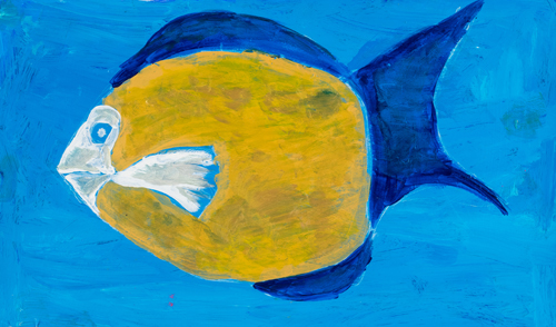 Item No.11 Acrylic on paper 13 x 22 inches 6th Grader at  St. Francis Seraph School